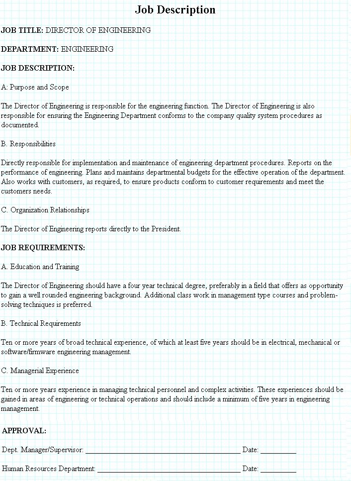 Director Engineering Job Description