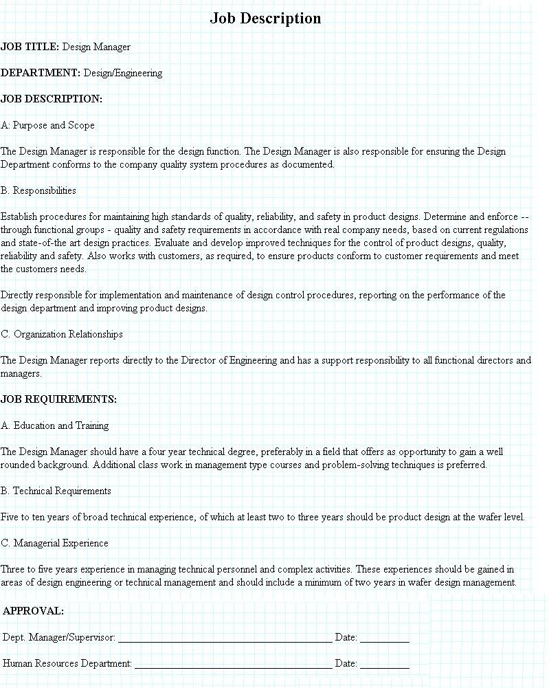 Design Manager Job Description