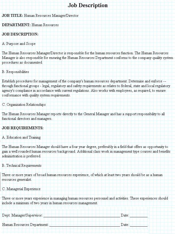 Director /Manager Human Resources Job Description