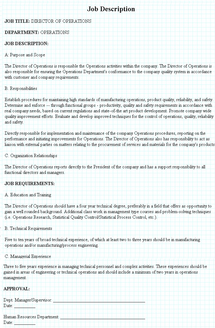Director of Operations Job Description