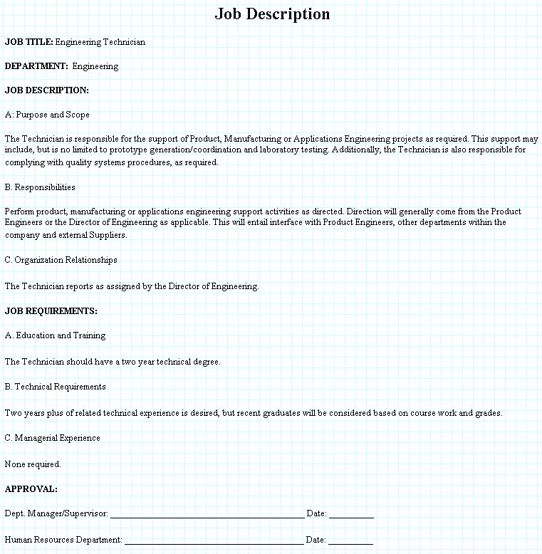 Engineering Technician Job Description