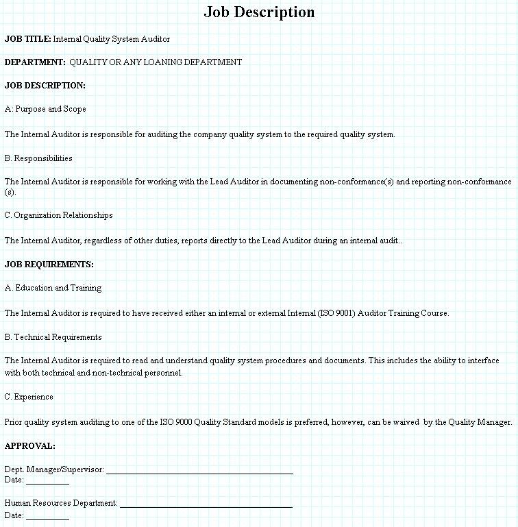 Internal ISO9001 Quality Auditor ob Description